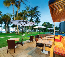 Bibesia Beachfront Restaurant at Castaways Resort & Spa, Mission Beach.  Alfresco beachfront dining ...